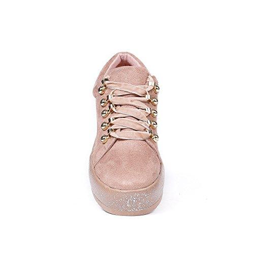 Ideal Shoes - Baskets basses effet daim avec lacets velours Rosela Rose