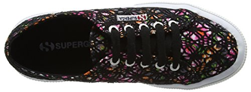 Superga - 2750 Laceflowersw, Scarpe da ginnastica Unisex – Adulto Multicolour Nero