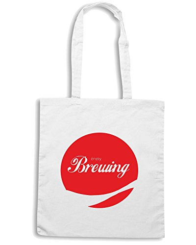 T-Shirtshock - Borsa Shopping ENJOY0024 Enjoy Brewing Bianco