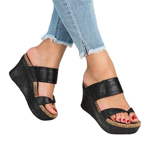 Minetom Femme Sandales Peep Toe Boucle Bout Ouvert Mode Été Hauts Talon Compensé Pente Romaines Sandales PU Mocassins Chaussures Noir EU 39
