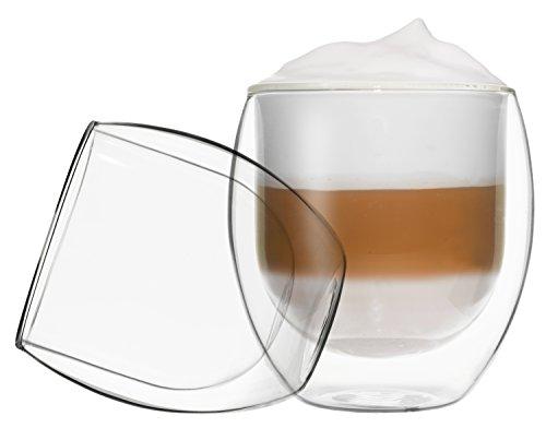 2x 410ml Jumbo doppelwandige Gläser, Thermogläser mit Schwebe-Effekt, DUOS by Feelino