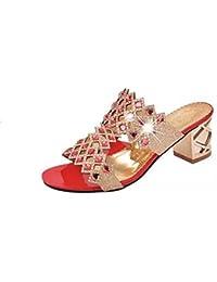 a740d56a1 LuckyGirls Sandalias Mujer Verano Zapatos de Tacón 6cm Brillante Rhinestone  Heuco Respirable Chancleta Moda Casual Chanclas Playa…