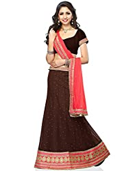 DesiButik Soft Net Lehenga Choli (LGJ1288_Choclate Brown_44)