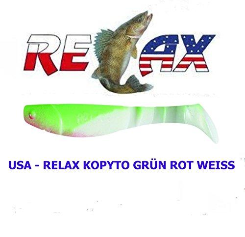USA-RELAX KOPYTO Grün Rot Weiss 5 Stück 5 cm (104 ) Hecht Zander Raubfisch