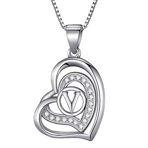 Morella® Damen Halskette Herz Buchstabe V 925 Silber rhodiniert mit Zirkoniasteinen weiß 46 cm