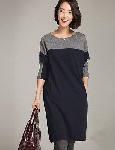 LYQ/ Robe Aux femmes Grandes Tailles Grandes Tailles / Vintage / Travail / Décontracté , Mosaïque Col Arrondi Au dessus du genou Coton gray-m