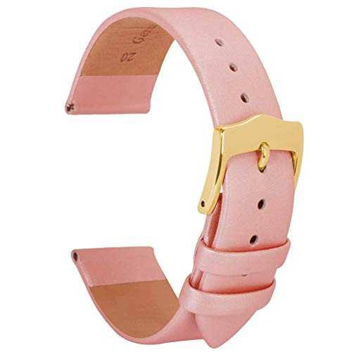 BONSTRAP Herren Satin Lederarmband Ersatz rosa 18mm Seide Lederarmband
