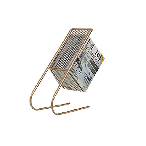JH Nordic Ferro Battuto Semplice Portariviste Creativo Giornale Giornale Piano di Stoccaggio Giornale Rack Semplice Divano Lato Stoccaggio Giornale Rack ++ (Colore : Oro)