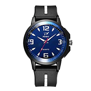 Hukz Herrenuhr,Mann-weiche Silikonkautschuk-Bügel-Sport-Mode-Uhr simulierte Quarz-Uhr,Runde Silikon-Armbanduhr aus Glas mit dreieckiger Nagel-Skala