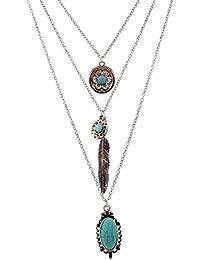 Lureme® vendimia de múltiples capas collar de flores de piedra turquesa cadena de plumas de metal colgante (01003373-2) plata antigua