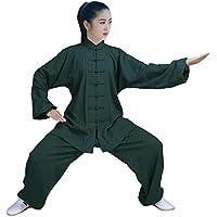 Zooboo Conjunto para Tai Chi, Qi Gong, artes marciales, Wing Chun, Shaolin Kung Fu, Taekwondo, ropa para formación, para expertos y principiantes, unisex, algodón, Verde oscuro