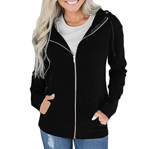 Hoodies Damen Kolylong Frauen Elegant Einfarbig Kurz Jacke mit Kapuze Herbst Locker Hoodie Reißverschluss Outwear Taschen Sport Mantel Sweatjacke Kapuzenjacke Pullover Pulli Tops (Kurze Sport-jacke Für Frauen)