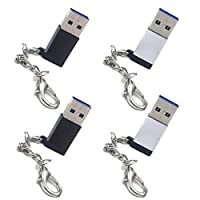 ApexOne 4 Packs USB 3.0 A Male to USB 3.1 Type C Female Adaptor Converter with Metal Keychain, Support Fast Charge,5Gbps Sync,Audio,Compatible for iPhone,iPad,Samsung,Google,Huawei,Oneplus &more