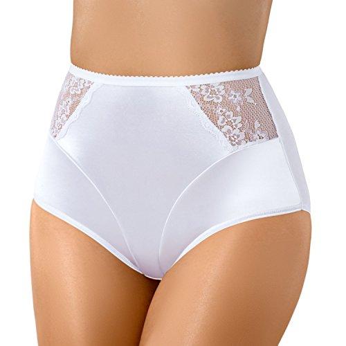 Bauchweg Unterwäsche Damen Miederslip mit Bauch-Weg-Effekt Shapewear Stark Formend Miederhose Slip Hochzeitsdessous Große Größen (XXXL, Weiß)