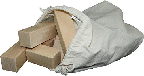 20 extra große und unbehandelte Holzbausteine für Kleinkinder im Baumwollbeutel, Natur, Buche