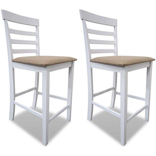 vidaXL Set de 2 chaises de Bar en Bois Blanc/Beige Chaises de Salle à Manger