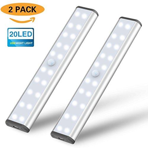 20 LED Schrankleuchte , SIEGES Sensor Nachtlicht mit Bewegungsmelder für Küche, Flur oder Durchgänge, Treppenhäuser und Keller (2 Stück)