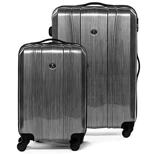 FERGÉ® Kofferset 2-teilig Dijon Handgepäck & Koffer XL 2er Trolley-Hartschalenkoffer Set 4 Rollen (360°) Hartschale Silber