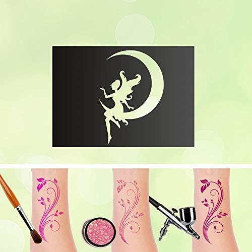 Tattoo - stencil autoadesivo per bambini, motivo: fatina con luna