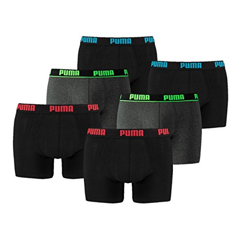 6 er Pack Puma Boxer Boxershorts Men Outline Unterwäsche Catbrand PROMO, Farbe:666 - black/grey;Bekleidungsgröße:M