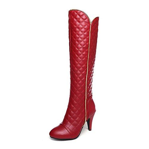 VogueZone009 Damen Hoher Absatz Rein Spitz Zehe Weiches Material Reißverschluss Stiefel Rot