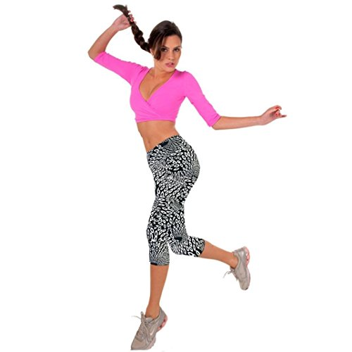 Fulltime® Femmes Yoga Sport Super Doux Spandex Modal Pantalons étirer Cropped Noir