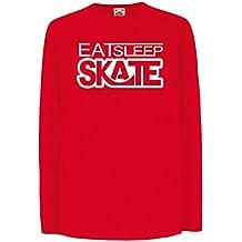 Kinder-T-Shirt mit Langen Ärmeln Eat - Sleep - Skate - für Skater, Skate Longboard, Skateboard Geschenke