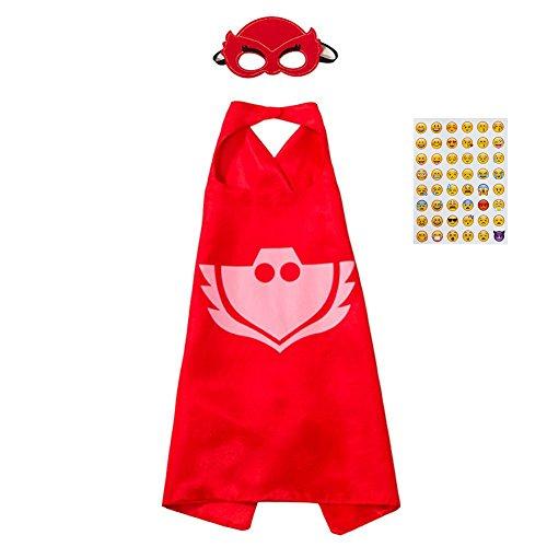 PJ Masks Kostüm,1 Capes und Masken für Kinder Superhero Costume Party (Kostüme Pj)
