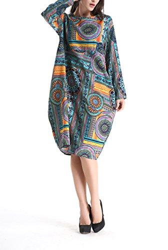 ELLAZHU Femme Midi Robe Cotton&Linen Bohémien Imprime Taille unique GY272 SZ274 Bleu