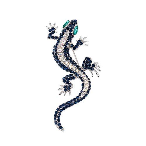 PCBDFQ Brosche Retro Crystal Lizard Broschen für Vintage Kostüm Kostüm Tier Geschenk Schmuck Strass Brosche -