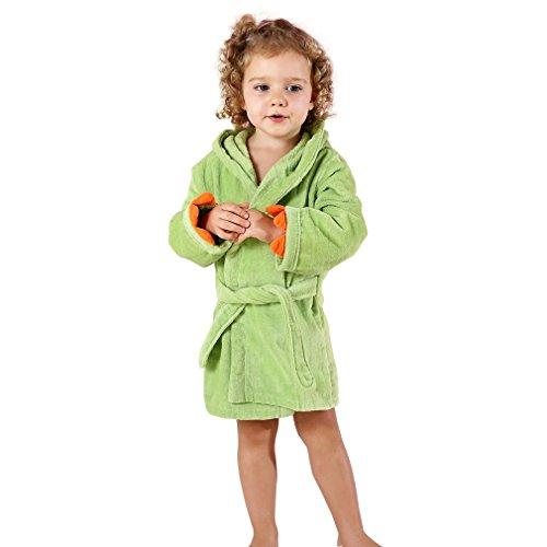 MICHLEY Baby Kinder Mädchen Bademantel Dinosaurier Badetücher 100% Baumwolle kapuzenhandtuch (Green 3-5T)