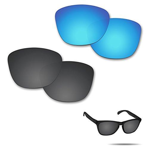Fiskr Anti-Saltwater Polarisierte Ersatz Gläser für Oakley Frogskins-Sonnenbrille 2Paar Verpackt, Stealth Black & Ice Blue
