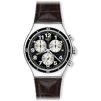 Swatch YVS400 - Orologio da polso uomo, pelle, colore: marrone - Swatch Irony Cronografo