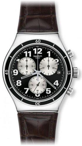 Swatch YVS400 - Orologio da polso uomo, pelle, colore: marrone