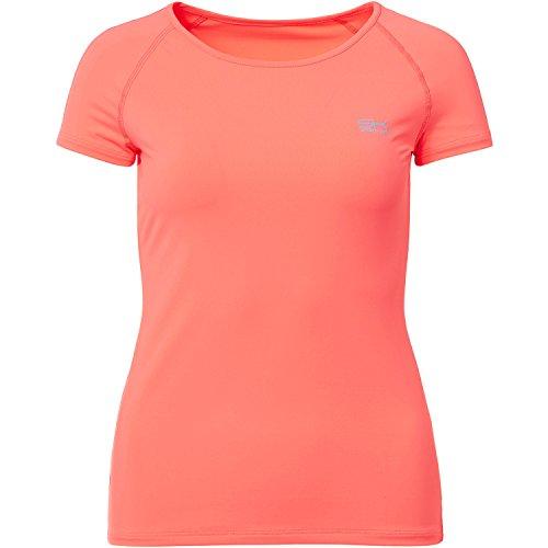 Sportkind Mädchen & Damen Tennis/Fitness/Sport T-Shirt, neon orange, Gr. 158