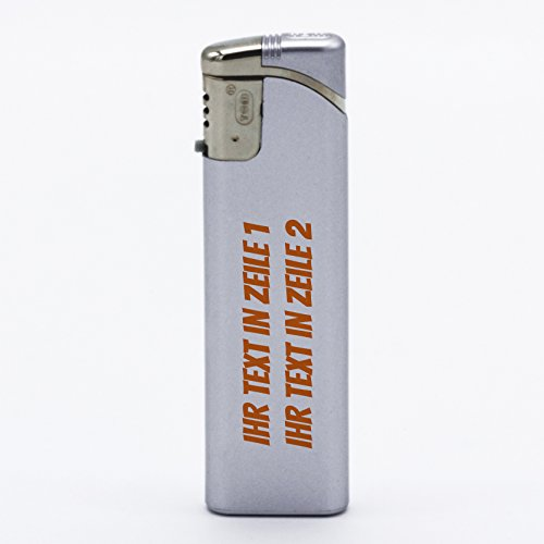 printplanet Feuerzeug Set mit eigenem Text bedrucken - personalisiertes Gasfeuerzeug-Set mit Wunschtext - 5 Stück - silber