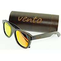 Vento® modello Loo Bamboo&Orange- Polarizzato gli occhiali da sole in legno di bambù, progettata in Italia con certificati CE e protezione UV400, Arance lenti cornice di bambù