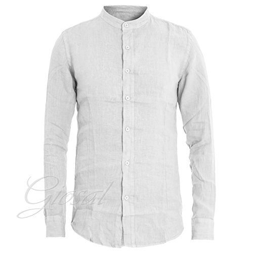 Giosal camicia uomo puro lino tinta unita bianco slim collo coreano c1303a-s