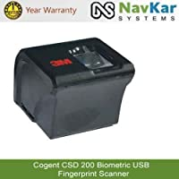 NAVKAR SYSTEMS 3M Cogent CSD 200 Biometric USB Fingerprint Scanner for NDLM, eKYC, STQC Pass (Standard Size, Silver)
