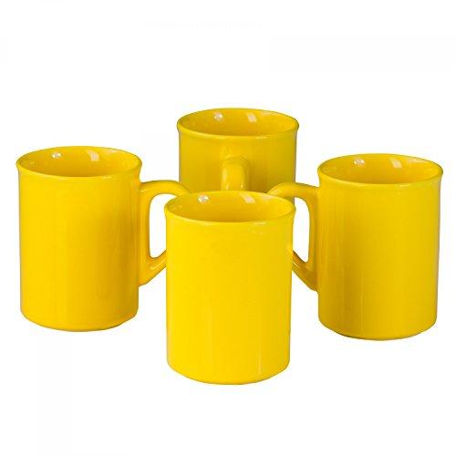 Van Well 4er-Set Kaffeebecher Sun, 280 ml, sonnengelbe Kaffeetassen groß, Kaffee-Pott, gelbes Porzellan-Geschirr, Frühstücks-Becher, Gastronomie