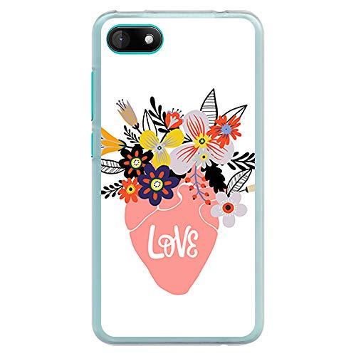 BJJ SHOP Transparent Hülle für [ Wiko Sunny 3 ], Klar Flexible Silikonhülle, Design: Blumentopf mit Blumen in Form eines Herzens, Love