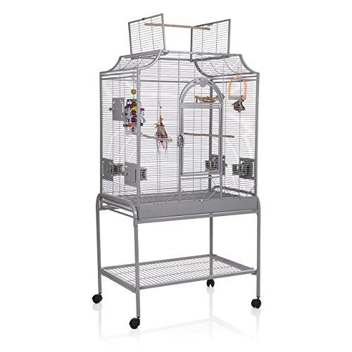 Montana Cages K35063 Vogelkäfig Madeira II - Platinum mit Ständer & Anflugklappe, 82 x 54 x 153 cm