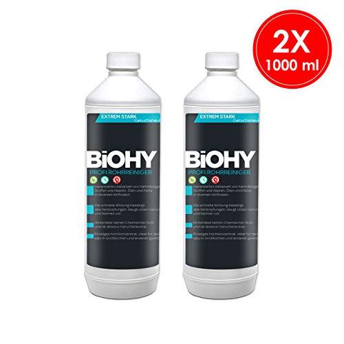 BIOHY Rohrreiniger - 2 x 1 Liter Flaschen - flüssig Abflussreiniger für Bad, Dusche, Badewanne, Spülbecken und alle Verstopfungen