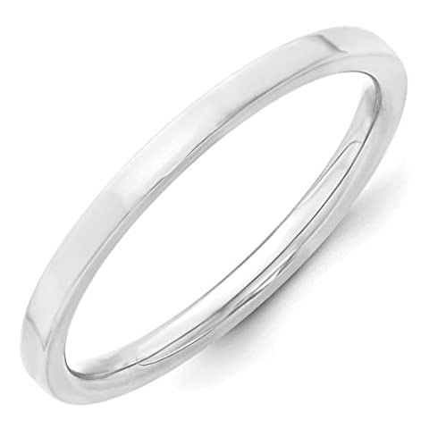 14ct White Gold 2mm Standard Flat Comfort Fit Band Size Z3 Ring