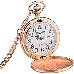 Mudder Classic Smooth Vintage Steel Pocket Watch For Men, Rose Golden