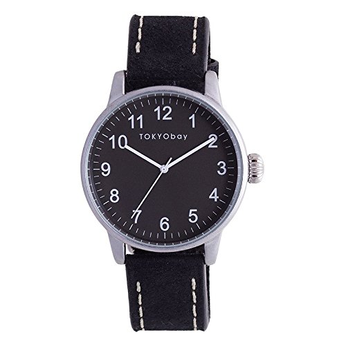 tokyobay-t626-bk-hombres-del-acero-inoxidable-negro-banda-de-cuero-esfera-de-color-negro-reloj-intel