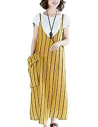ZhuikunA Peto Vestidos Vaqueros Largos Mujer Casuales Bolsillos Sin Mangas  Tiras d4538f6f6b9