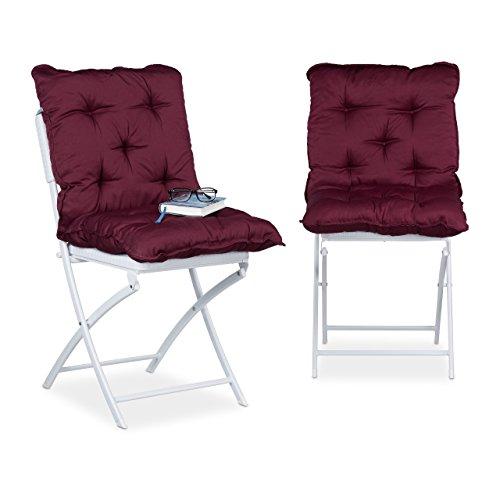 Relaxdays Sitzpolster 2er Set, gepolsterte Sitzkissen m. Rückenteil, bequeme Stuhlauflagen HxBxT: 9...