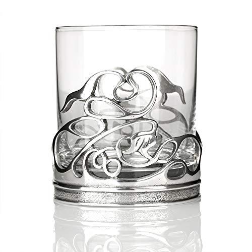 Eburya Celtic Swirls Tumbler - Whiskyglas aus England mit keltischem Muster aus Zinn Highland Swirl