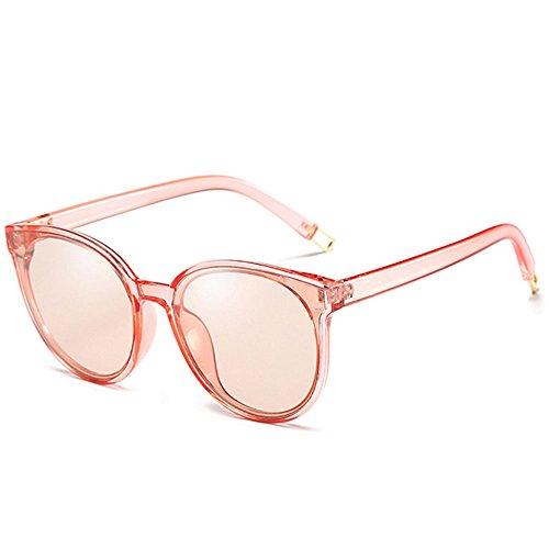 RYRYBH Runde Kunst der halben grenzenlosen polarisierten Sonnenbrillendamenmänner der runden Kunst des Gesichtes Retro- Sonnenbrille Sonnenbrille (Farbe : Rosa, größe : One Size)